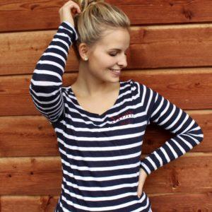 Damen Brøndby Longsleeve - weiß/blau gestreift
